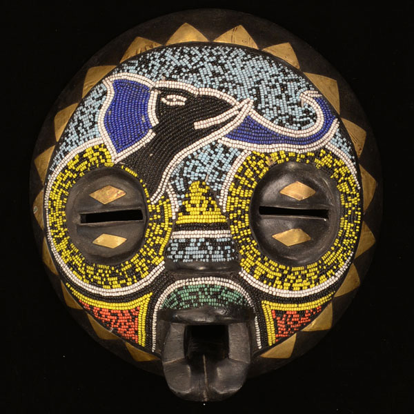 African Baluba Beaded Elephant Mask 57 Front